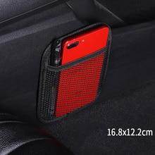1*Universal Car Black Storage Bag Brand Stick up Mesh Net Storage Bag Phone Holder Organizer Pouch Car Hanging Ornament Decorate