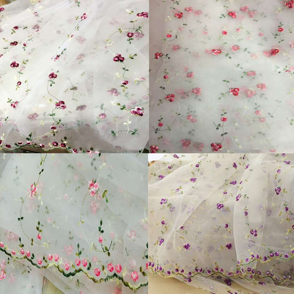 DIY 1 Yard Lace Fabric White Organza Flowers Embroidery Wedding Bridal 51 Width ...