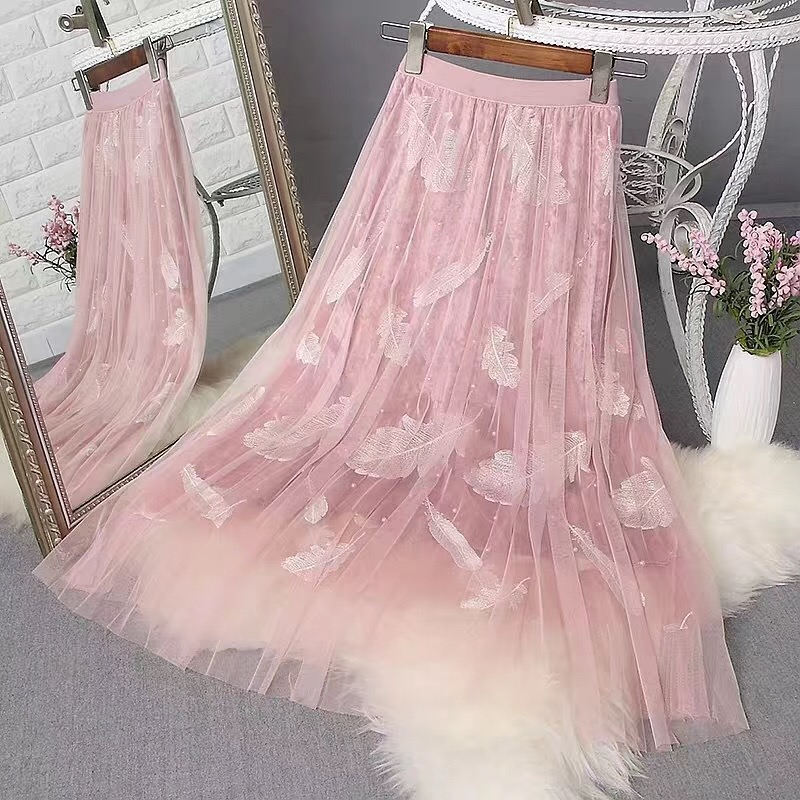 Beading Women Tulle Skirts 2019 Spring Feathers Embroidery Long Mesh Skirt Slim High Waist Pleated Skirts Gray Saias