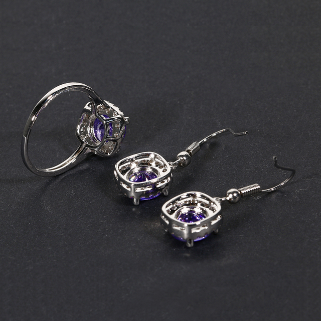 Natural Amethyst Drop Earrings Women's Real Solid 925 Silver Jewelry Earrings New Square Drop Earring Wedding Birthday Gifts