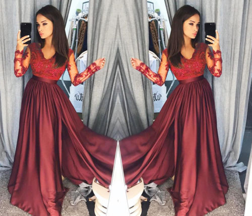 2019 Women Lace Evening Party Ball Prom Gown Formal CLUB Wear Deep V Neck Long Dress 5