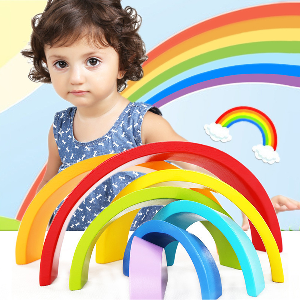 1 Pcs Halve Cirkel Regenboog Blokken Houten Speelgoed Voor Kinderen Matching Met Grote Regenboog Bouwstenen Kasten Gift