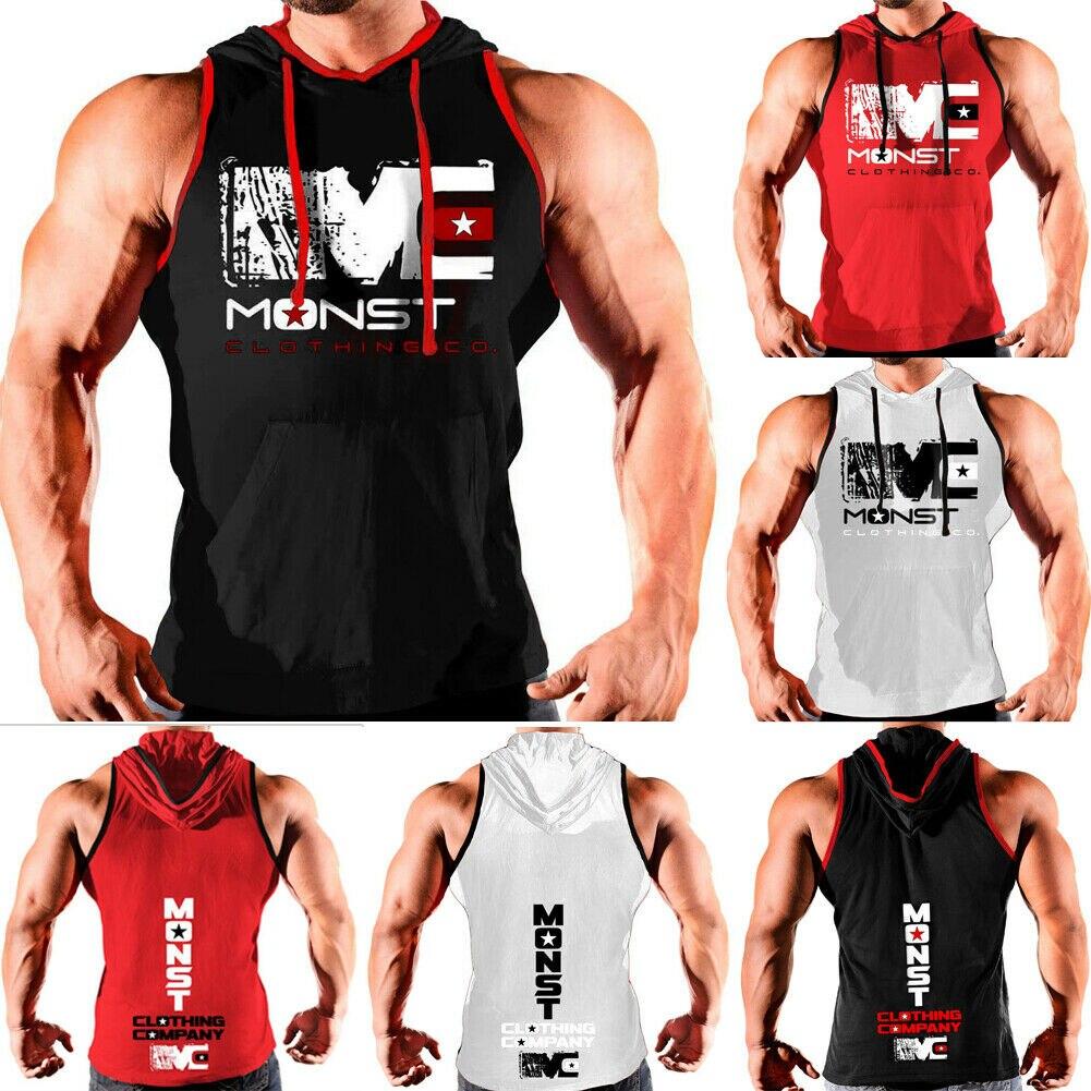Men Hoodie Vest Muscle Stringer Bodybuilding Gym Tank Tops Hooded Tee