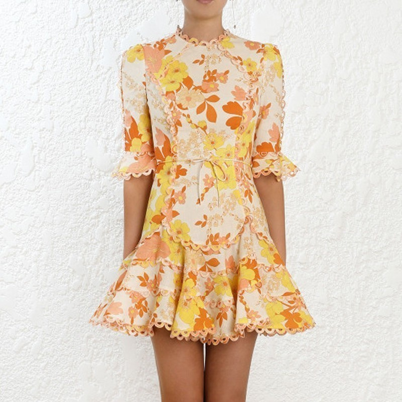 [MENKAY] Print Female O Neck Flare Half Sleeve High Waist Lace Up Women 2019 Summer Casual Fashion New Korean Clothing
