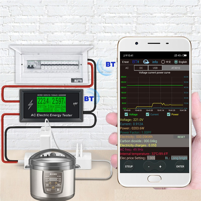 AT3010 AC50~320V 100A 3KKW Phone App AC Meters Digital Voltage Meters indicator Power Energy Meter Voltmeter Ammeter