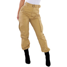 купить Casual Women Cargo Pants Solid Color High Waist Pants Pockets Punk Harem Capri Women Trousers Joggers Streetwear Pants For Women дешево