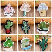 Fine 1pcs Mix Cactus Patch for Clothing Iron on Embroidered Sew Applique Cute Fabric Badge Garment DIY Apparel Accessories