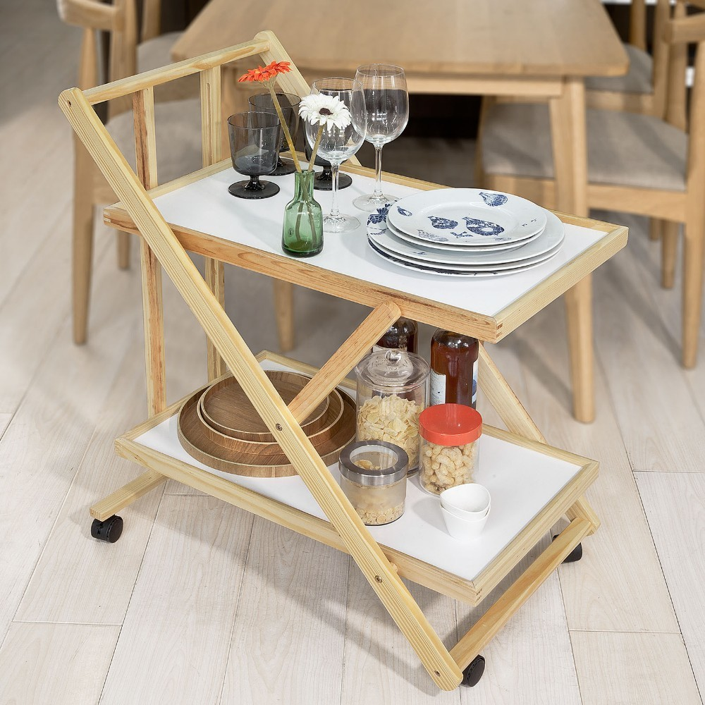 SoBuy  FKW52-WN, Foldable Wooden 2 Shelves Serving Trolley On Wheels, Home Kitchen Trolley Cart