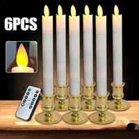 6 шт. Дистанционное светодио дный управление светодиодные свечи Свадебная вечеринка ночь декоративные свечи Flamelss безопасный свеча свет