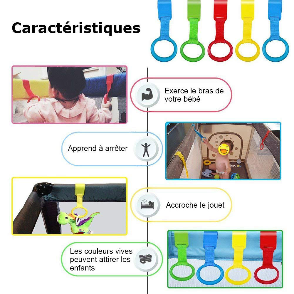 Baby Bed Pull Ring Pendants Toys Wake Up Crib Multi-color Hook Stand Up Home