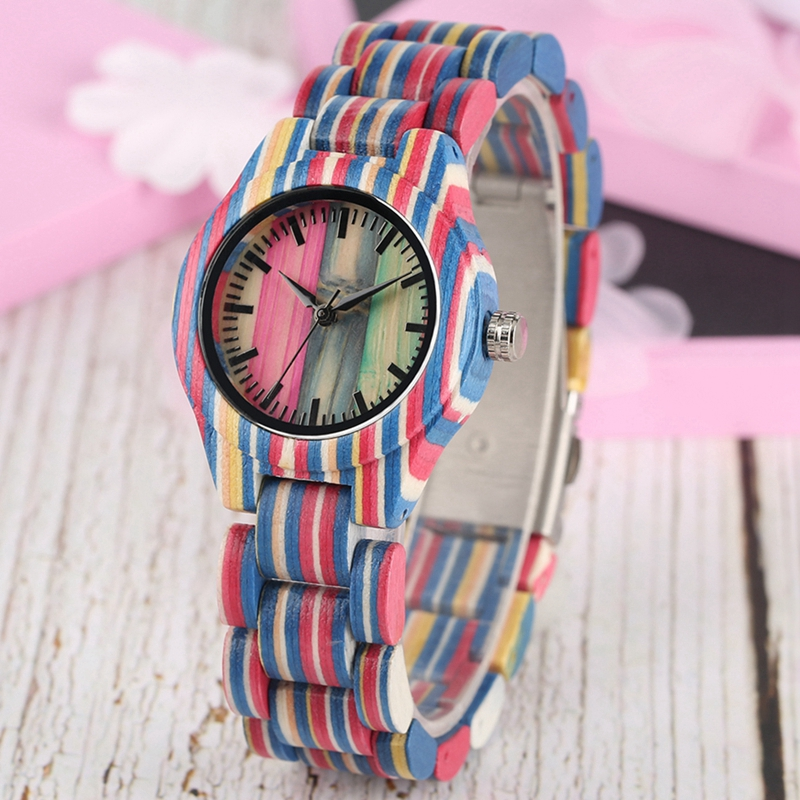 Image 2 - Top Luxury Colorful Wood Watch Womens Quartz Full Bamboo Wooden Clock Female Fashion Candy Color Bracelet Hour Lady Wrist WatchWomens Watches   -