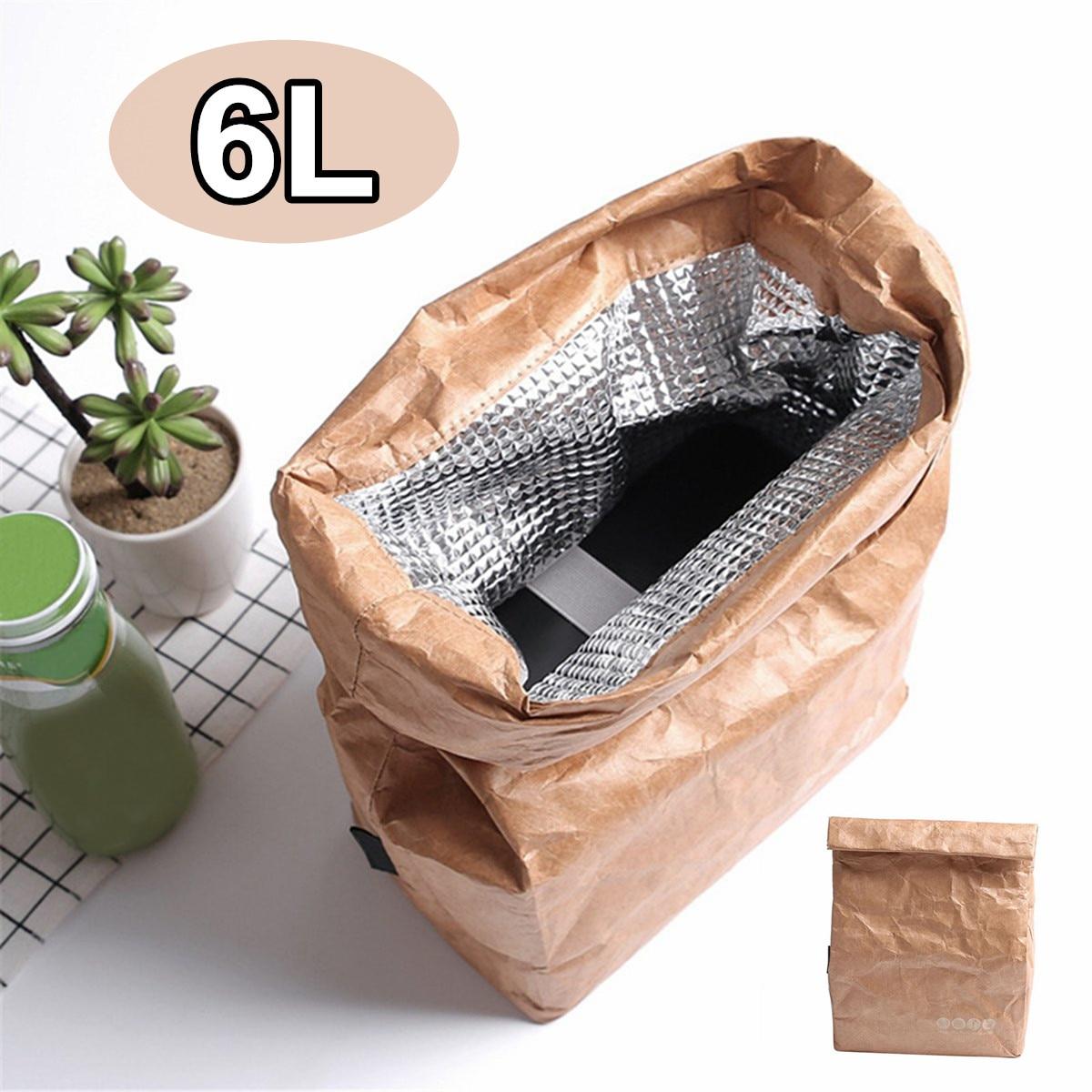 6L Kraft Paper Lunch Bags For Women Men Environment Waterproof Insulated Cooler Bags Thermal Aluminum Foldable Picnic Bags
