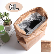 6L Kraft Paper Lunch Bags For Women Men Environment Waterproof Insulated Cooler Bags Thermal Aluminum Foldable Picnic Bags