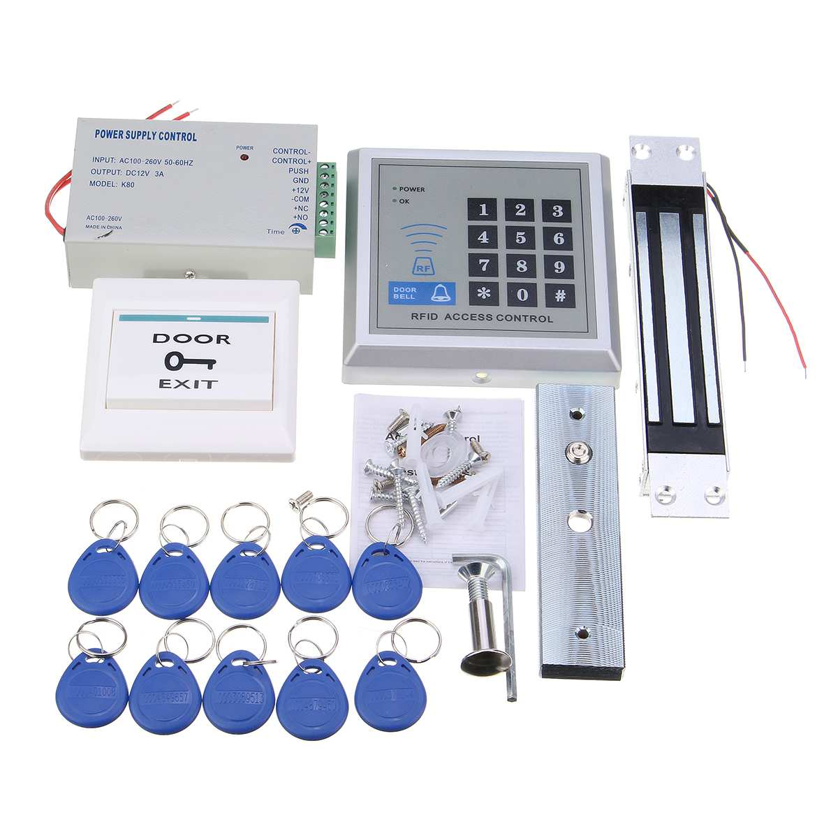 RFID biométrique d'empreintes digitales contrôle d'accès porte serrure système Kit ouvre-porte lecteur de carte clavier électrique magnétique