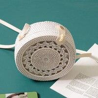 New White Round Rattan Bags For Women Beach Crossbody Bag Straw Handmade Woven Circle Shoulder Bag Female Handbags