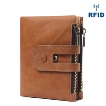 Mens Wallet Rfid Anti-Magnetic Casual Fashion Leather Double Zipper Multi-Card Retro Hand Take Purse