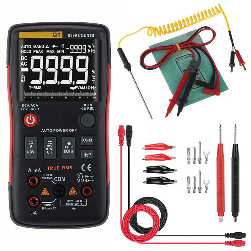 Q1 True RMS LCD Digital Multimeter 9999 Counts AC DC Voltage Current Tester Meter Auto Manual