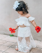 PUDCOCO Hot Toddler Kid Girls Clothes One-Shoulder Off-the-Shoulder Lace Top Solid Color Lace Pants Clothing Skirt Dress 1-6T contrast lace open the shoulder top