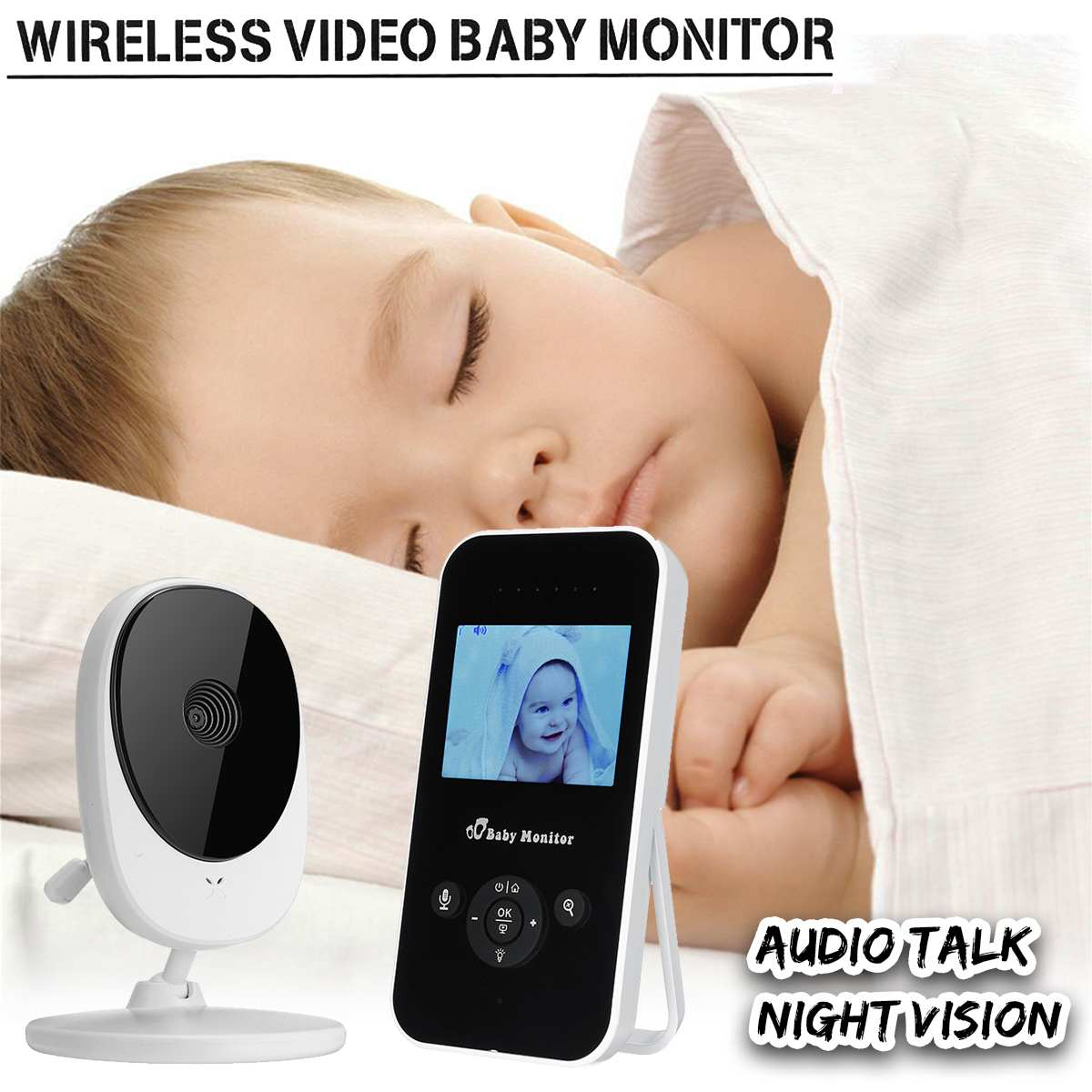 2.4G Wireless 2.4inch LCD Baby Monitor with Camera High Resolution Video Color Night Vision 2 Way Talk Monitoring Home Security wireless lcd audio video baby monitor security camera baby monitor with camera 2 way talk night vision ir temperature monitoring