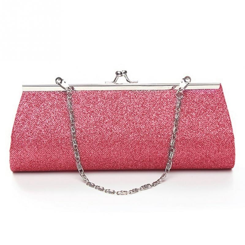 Women Shiny Glitter Clutch Purse Bag Evening Party Wedding Bridal Banquet Handbag Shoulder Bag With Chain Small Bag
