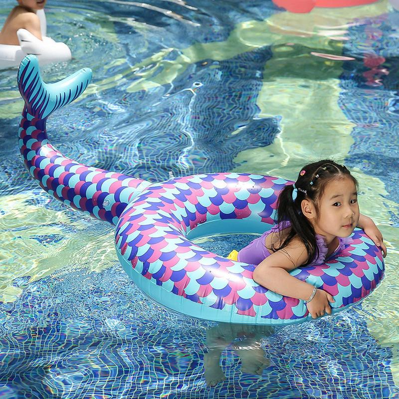 Kids Inflatable Swimming Ring Fish Tail Pool Adult Pool Float Swimming Circle Life Buoy Raft Kid Swimming Pool Summer Toys Child