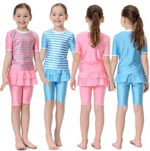 Image 1 - ילדים בנות בגדי ים צנוע אסלאמי מוסלמי קצר שרוול חולצות + מכנסיים בגד ים חוף חליפת השחייה