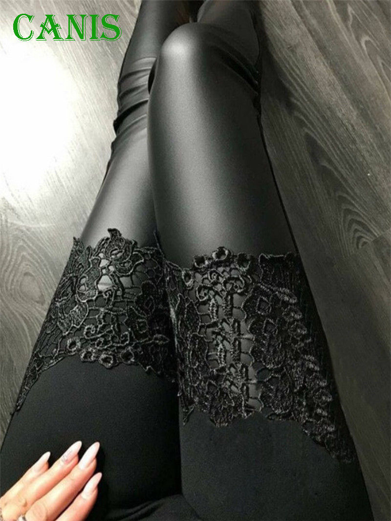 New Fashion Sexy Women Leather Lace Floral Patchwork   Leggings   Stretch Fitness Slim Fitted Trousers Pants