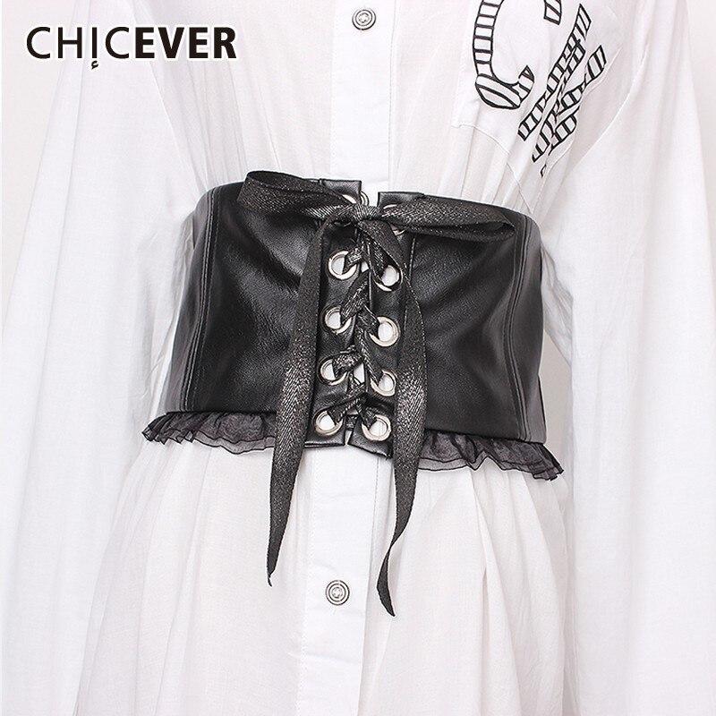 CHICEVER Summer Vintage Bandage Bow Patchwork Lace Women Belt Wide Pu Leather Female Belts 2020 Fashion Korean Tide