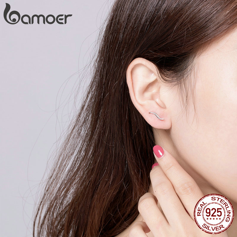 BAMOER 925 Silver Waving Curves Line Small Stud Earrings for Women Minimalist Fine Jewelry Accessories Gifts 2019 New SCE600