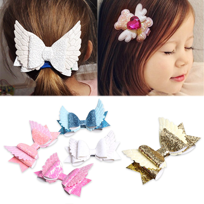 1PC Angel Wing Princess Glitter Hair Bows with Clip Dance Party Bow Chic