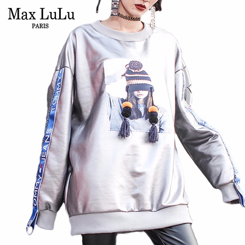 Max LuLu marque coréenne de luxe dames chaud fourrure Streetwear femmes argent hiver Hoodies surdimensionné Sudaderas femmes Bts Sweatshirts