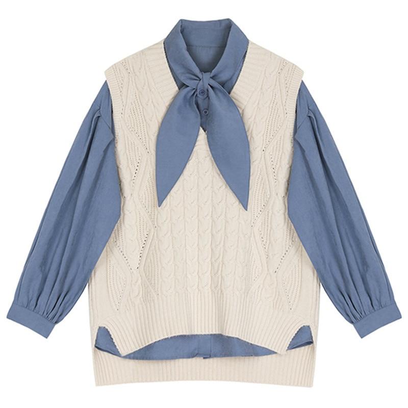 9848519051f8d De Matching Tricoter Femme Longues Bleu Point Chemisier Gilet Revers Marée  Pièces Mode Manches D'été ...