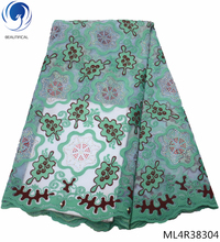 BEAUTIFICAL swiss voile lace fabrics 2019 laces with rhinestones for women 5yards ML4R383