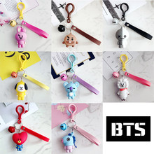 KPOP BTS Bangtan Boys BT21 TATA COOKY PVC Keychain Phone Rope Strap Charm Cords Lariat Clip Lanyards Keyring Accessory(China)