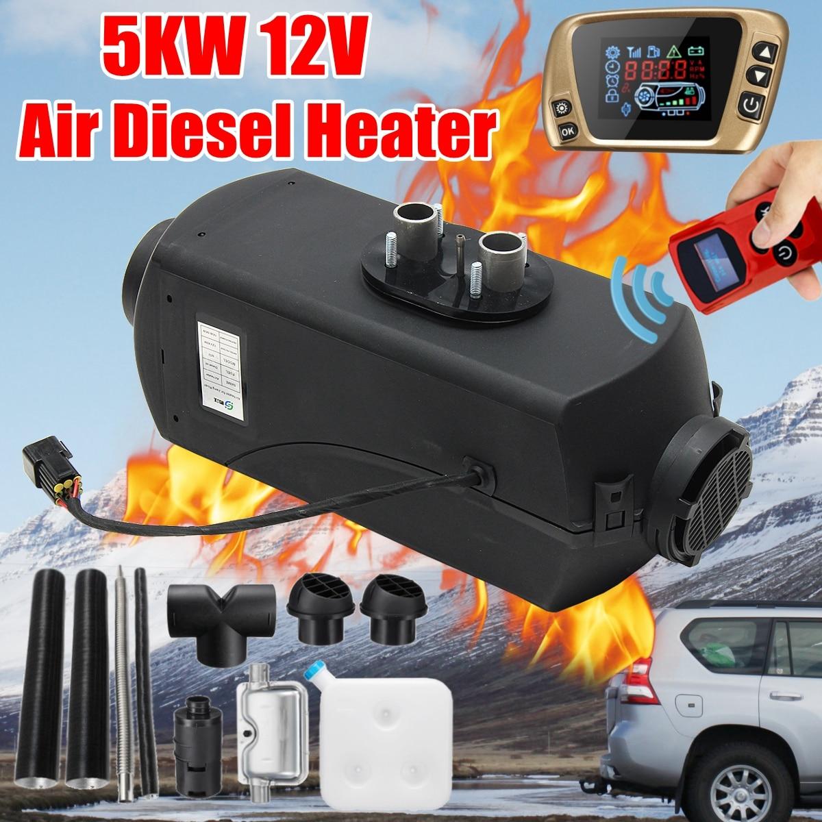 12 V 5KW Voiture Parking Air Diesels Chauffage À Combustible LCD Commutateur 5000 W Chauffage De la Voiture pour RV Bateaux Camping-Car Camions remorque + À Distance + Silencieux