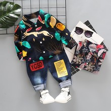 купить 2019 Spring Baby Boy Clothing Toddler Children Clothes Suits Cartoon Color Print Shirt Jeans 2Pcs/Sets Casual Kid Infant Costume по цене 562.08 рублей