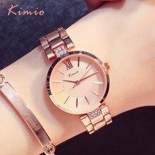 KIMIO тонкие часы Для женщин модные простые часы платье со стразами женские часы из розового золота кварцевые женские Для женщин часы наручные часы
