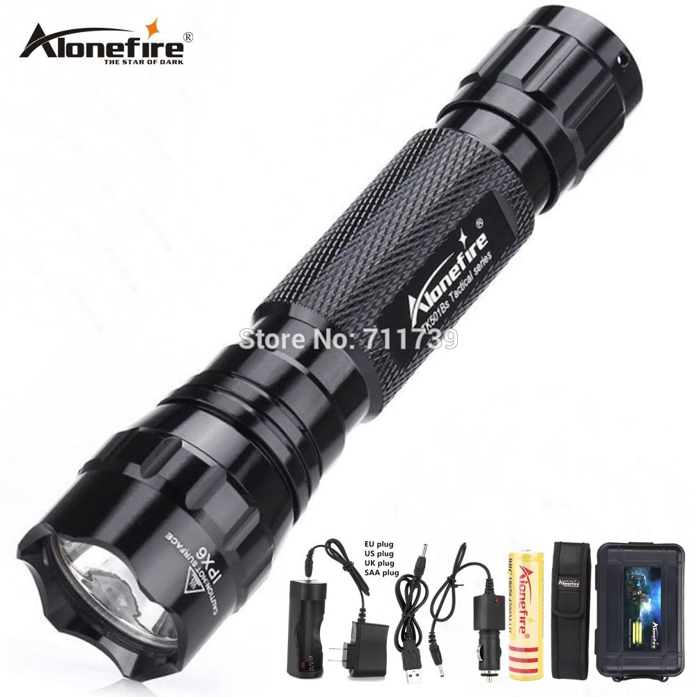 AloneFire 501B XM-L T6 L2 U3 Tactical Flashlight Powerful Waterproof Lantern Outdoor Camping Lights 18650 Rechargeable Battery