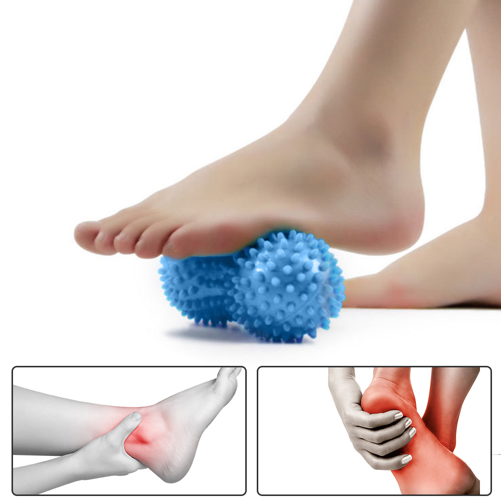 2PCS Spiky Massage Ball Trigger Point Hand Foot Pain Relief Muscle Relax Ball Fitness Peanut Shape PVC Roller