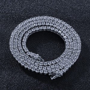 Image 3 - Uwin 100% 925 Sterling Kleur 3 Mm Tennis Kettingen Zirconia 1 Rij Luxe Cz Iced Out Hip Hop Ketting gift
