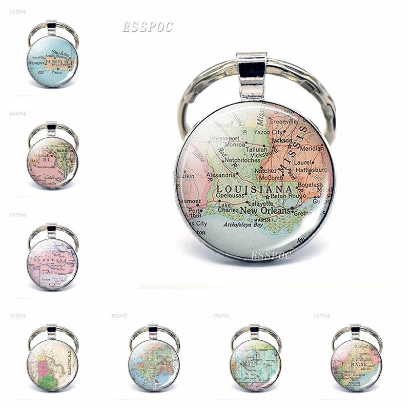 US $0.9 30% OFF|Vintage American Map Glass Cabochon KeyChain United States  Washington DC Louisiana California Pendant Key Rings Fashion Gift-in Key ...