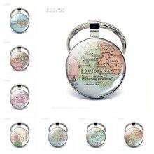 Vintage American Map Glass Cabochon KeyChain United States Washington DC Louisiana California Pendant Key Rings Fashion Gifts