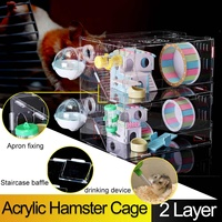 40x40x30cm Large Double Layer Luxury Hamster Cage Funny Guinea Pig Cage Acrylic Small Pets Mice House Chinchilla Hedgehog