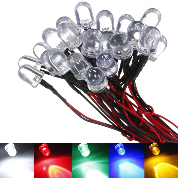 Super Bright 5pcs 20cm 10mm Pre Wired LED Lamp Light Bulb Emitting Diode 5 Colors Excellent Quality DC12V