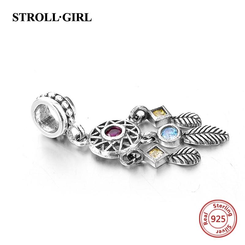 925 Sterling Gümüş Kulon Dream Catcher Charm uyğun Avropa - Moda zərgərlik - Fotoqrafiya 2