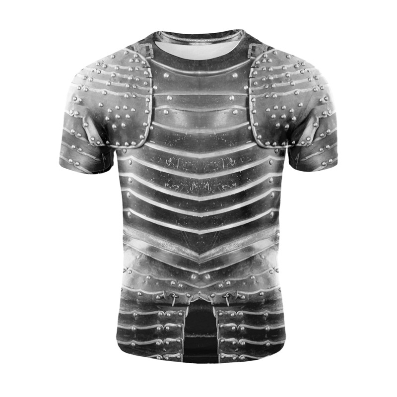 Yelite 2019 mais novo guerreiro armadura peitoral muscle sleeve men tshirt verão legal camiseta 3d impressão t camisa topos masculino venda quente