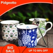 European Creative Flower Pattern Ceramic Coffee Mug With Handle Fine Bone China Breakfast Cup For Milk Tea Unique Water Gift