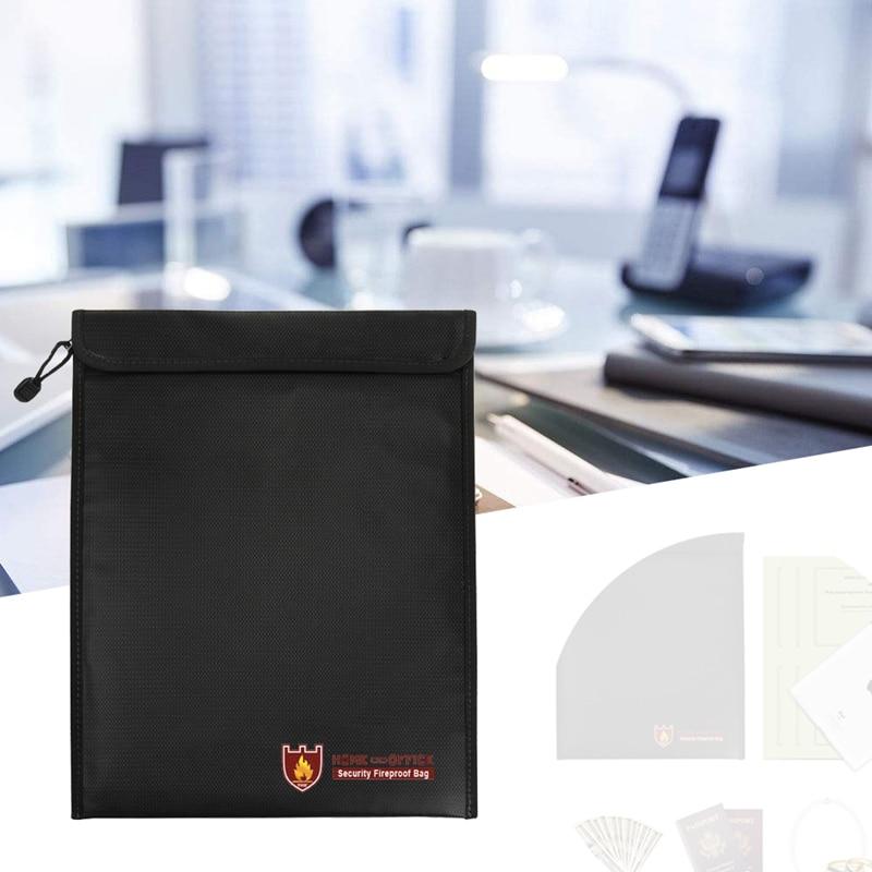 Black Fire Resistant Waterproof Safe Bag for Important Documents 14.96in x 11in Black Fire Resistant Waterproof Safe Bag for Important Documents 14.96in x 11in