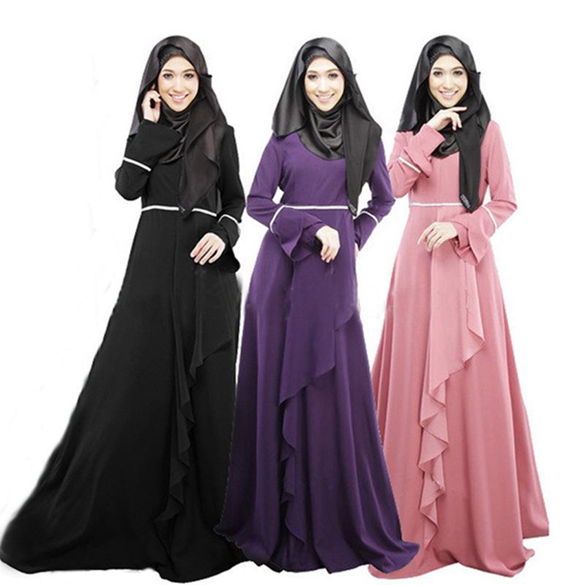 Muslim Woman Eid Mubarak Jilbab Islamic Turkish Dubai Arabic Abaya Flare Sleeve Patchwork Kaftan Female Muslim Dresses