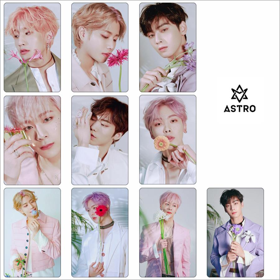 Kpop Astro Members Photo Stikcy Card 1st Album All Light Crystal Card Sticker Cha Eun Woo Moo Bin HD Photocard Sticker 10pcs/set
